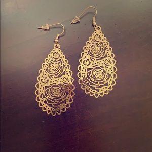 Gold Rose Design Earrings